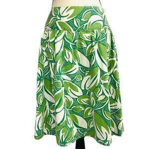 Merona Green Leaf Print Midi Skirt